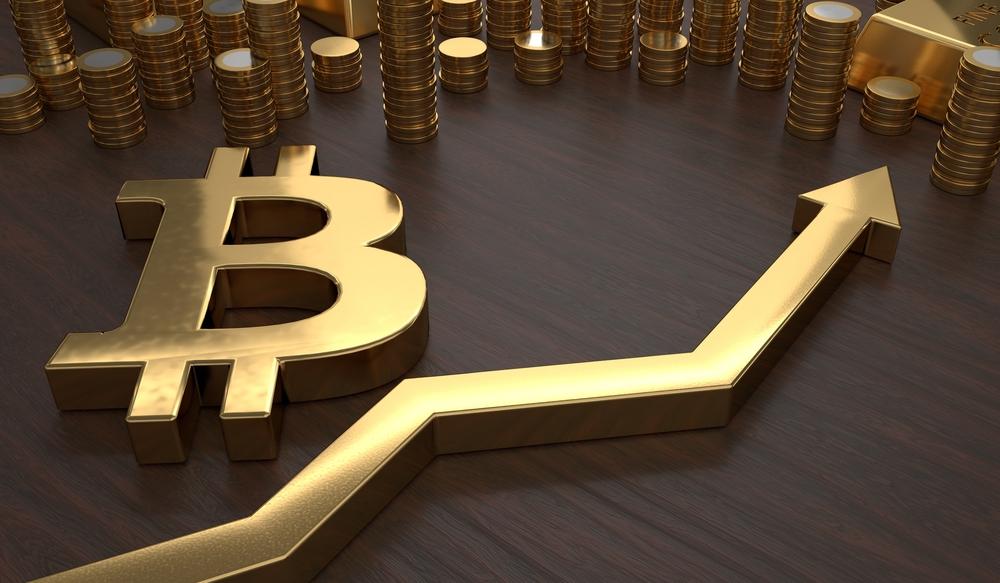 gold bitcoin symbol and arrow