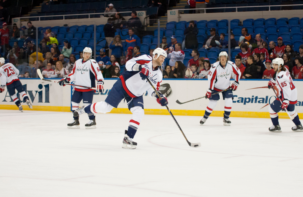 Washington Capitals players during warm-ups before a game against