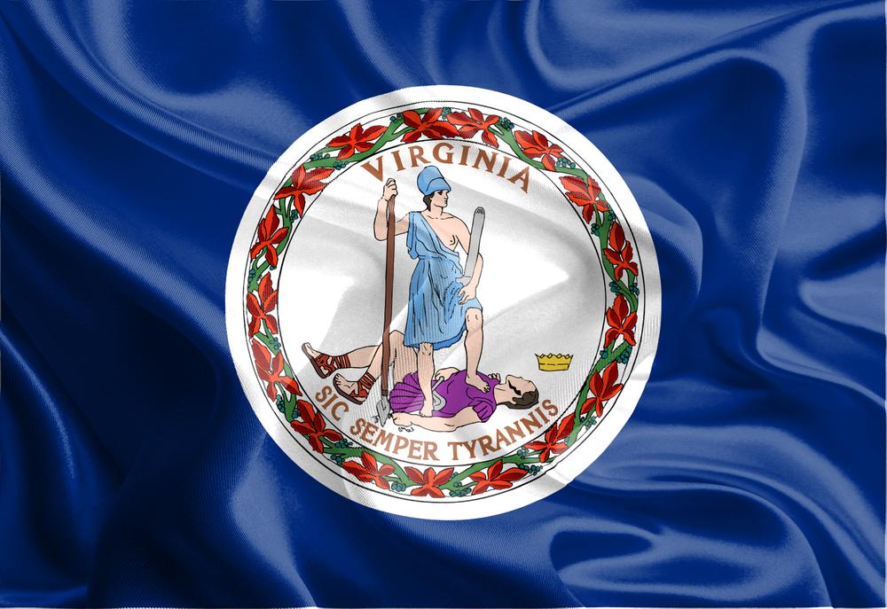 Waving Fabric Flag of Virginia