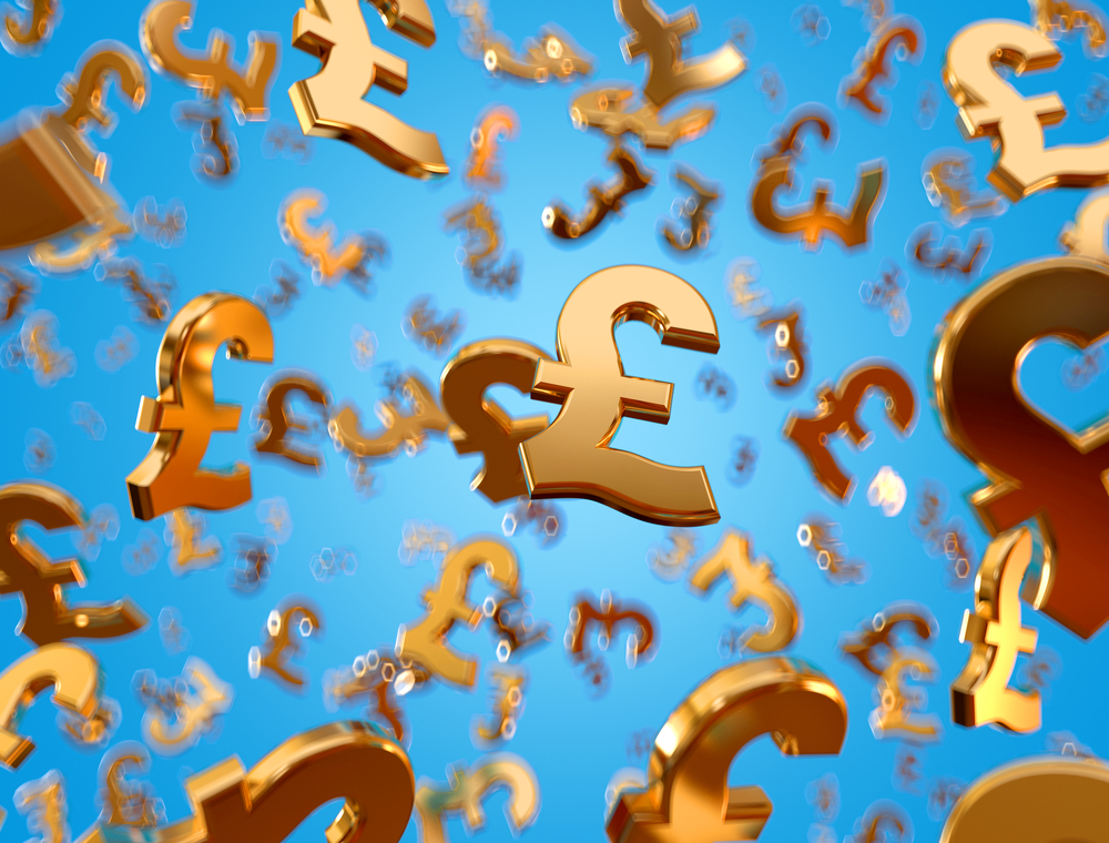 falling golden pound sterling signs