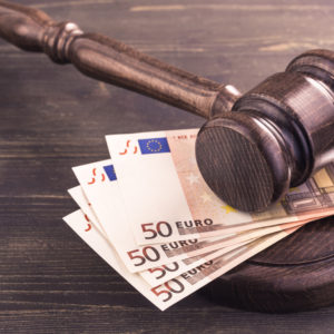 fined in euros concept
