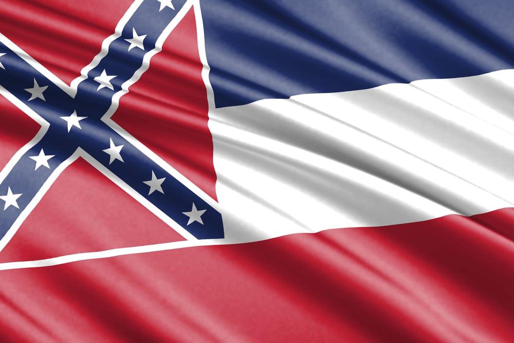 waving flag of Mississippi