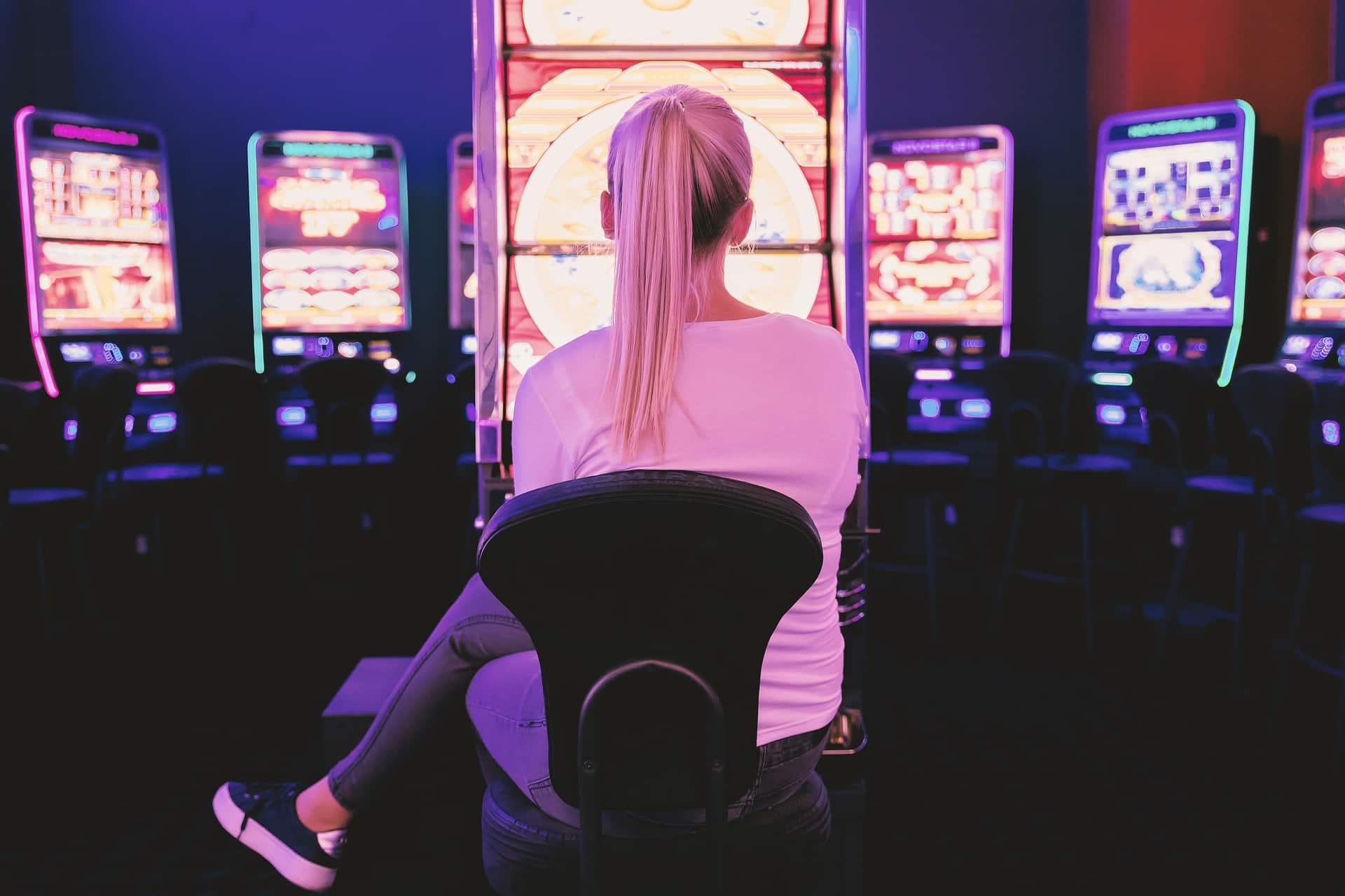 woman on slot machine