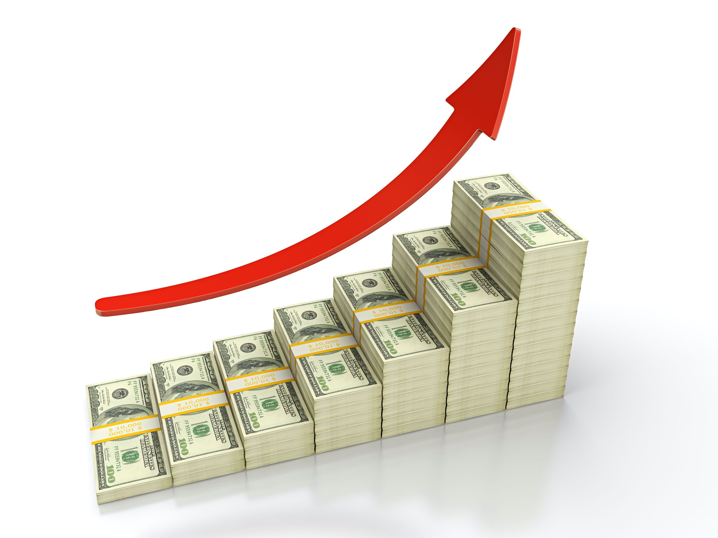 3d render of growing stack of dollar bills