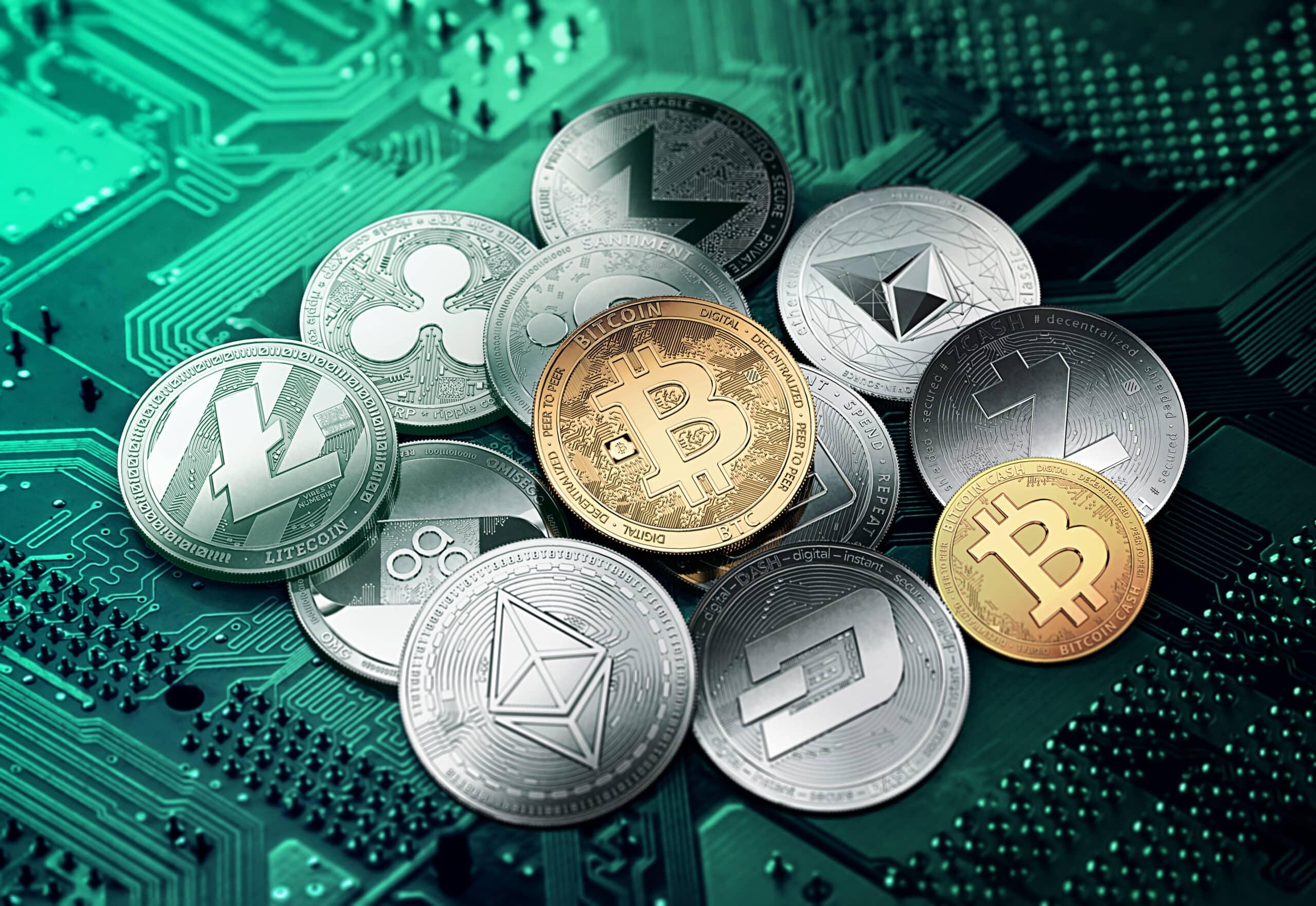 Different cryptocurrencies concept