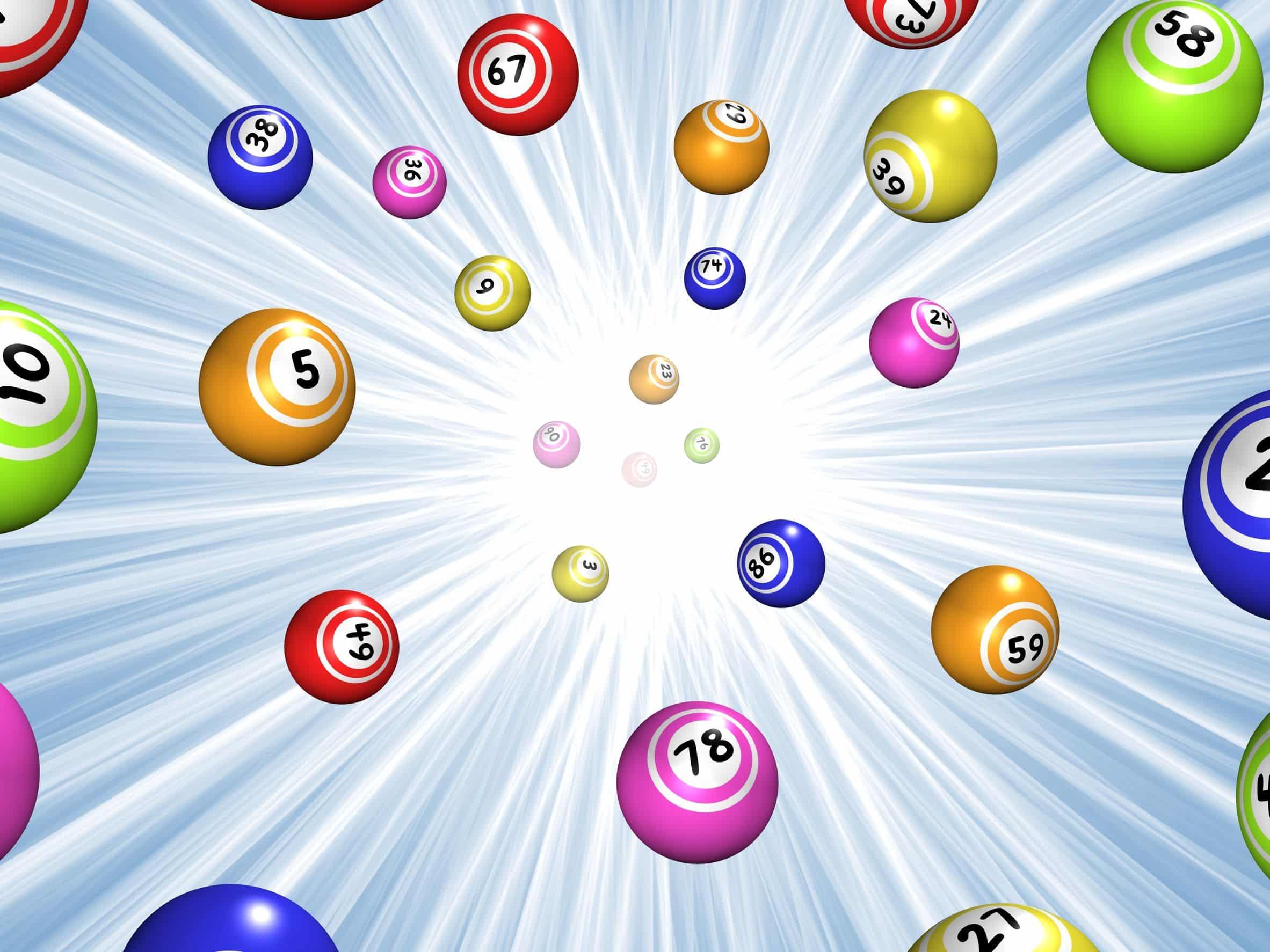 illustration of bingo balls over a blue starburst background