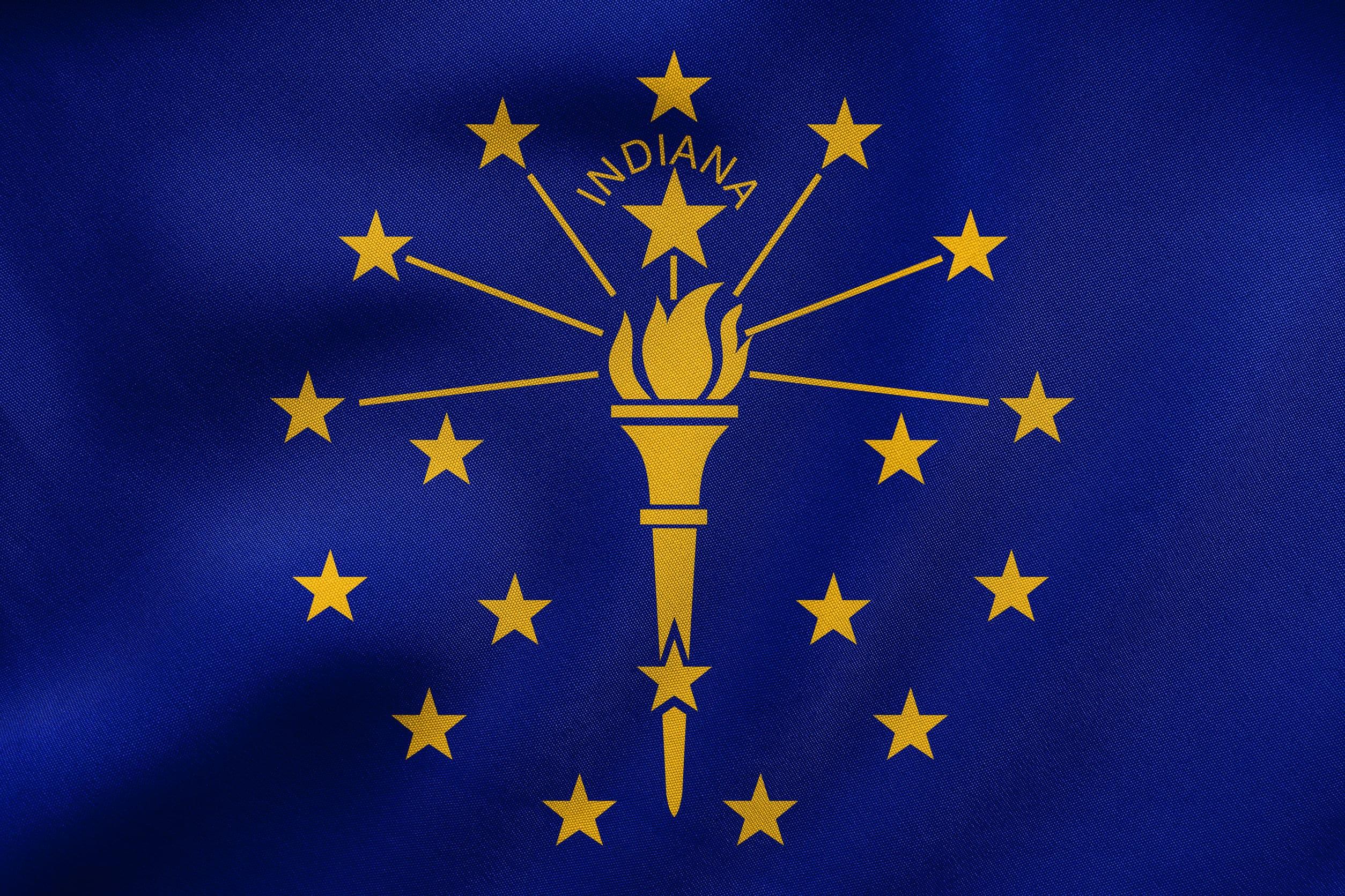 Flag of Indiana waving