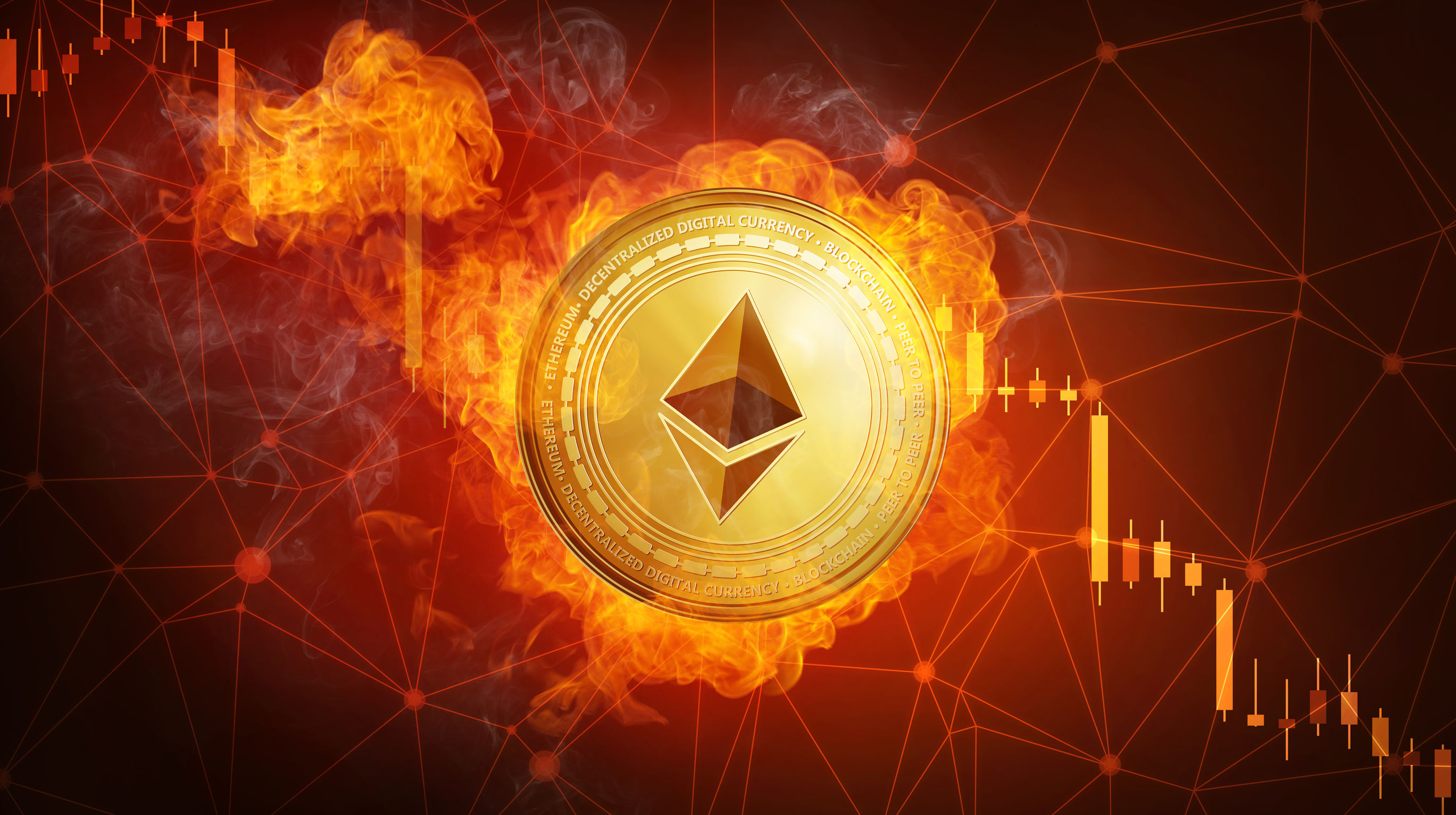 Golden Ethereum coin falling in fire flame.
