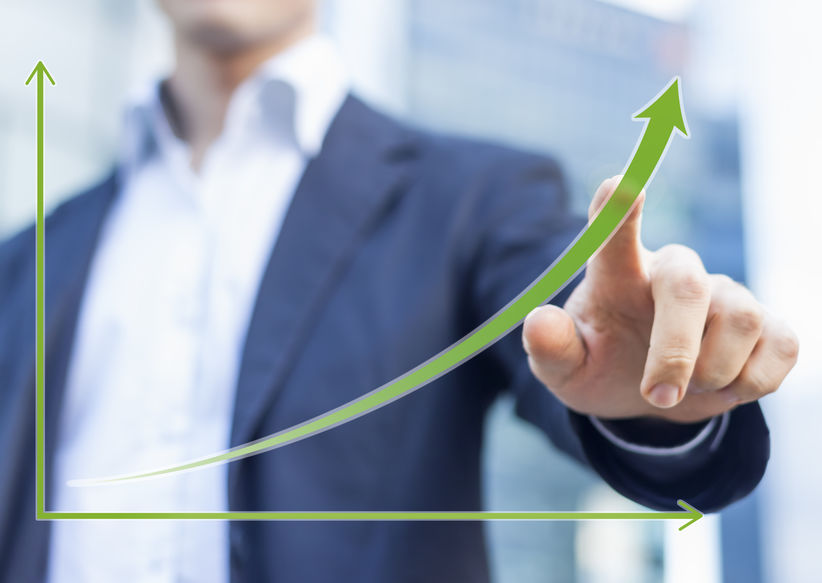 Businessman presenting chart