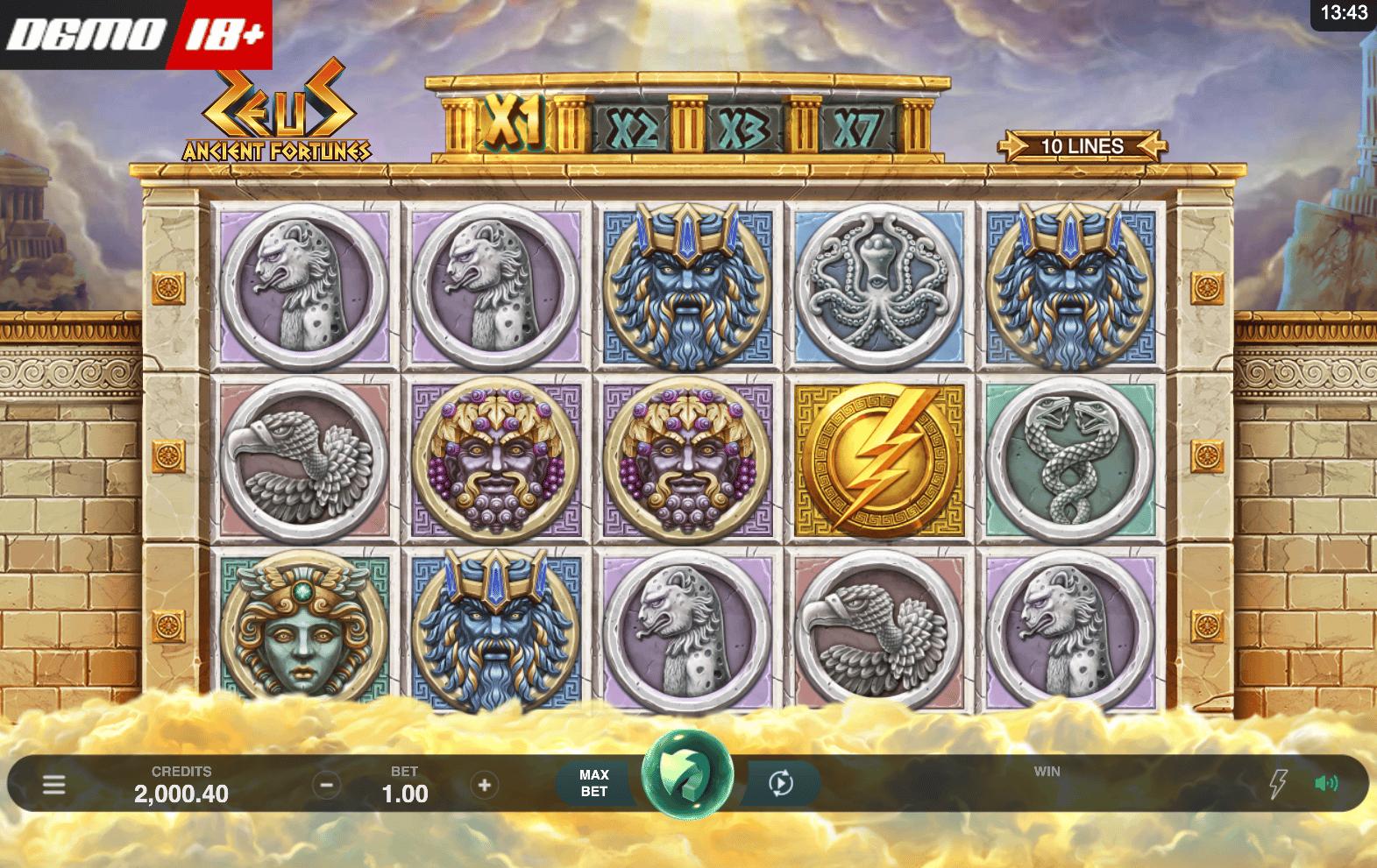 zeus ancient fortunes slot