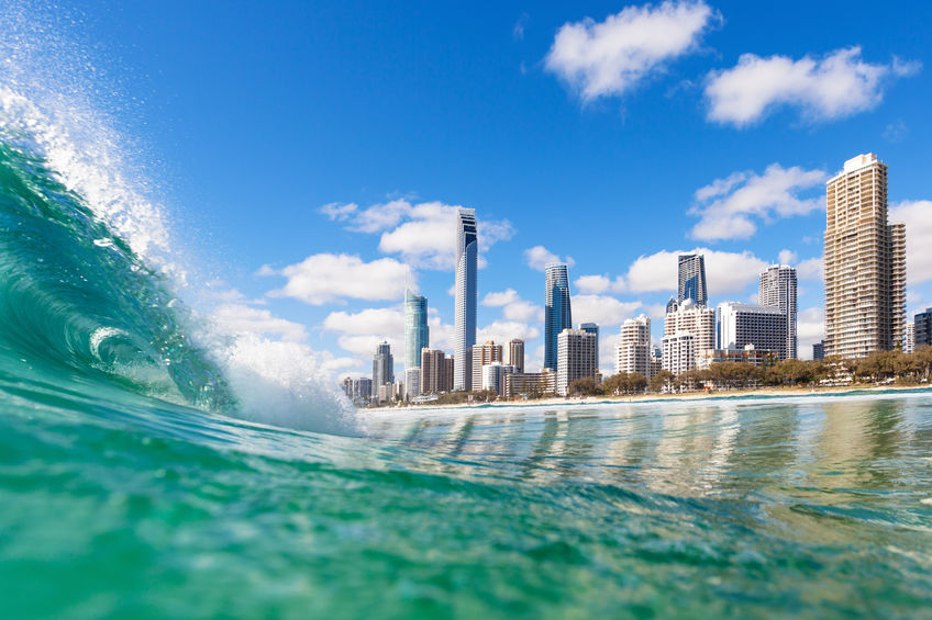 View from the water of Surfers Paradise on the Gold Coast