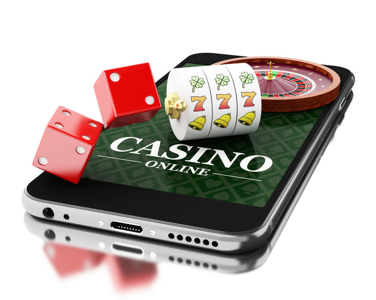3d Smartphone with roulette and dice