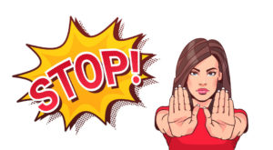 Woman Gesturing No Or Stop Sign Showing Raised Palms