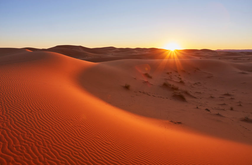 Beautiful sand dunes in the Sahara