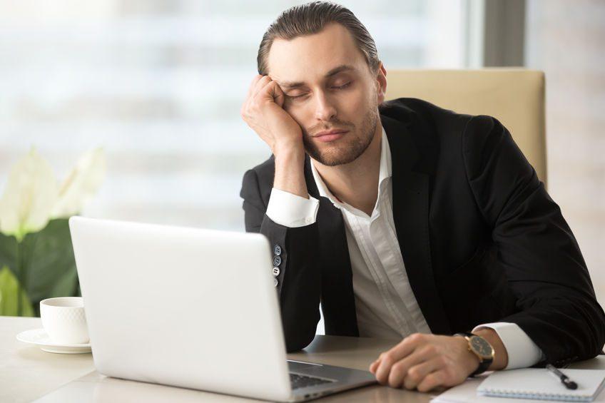 falling asleep at laptop