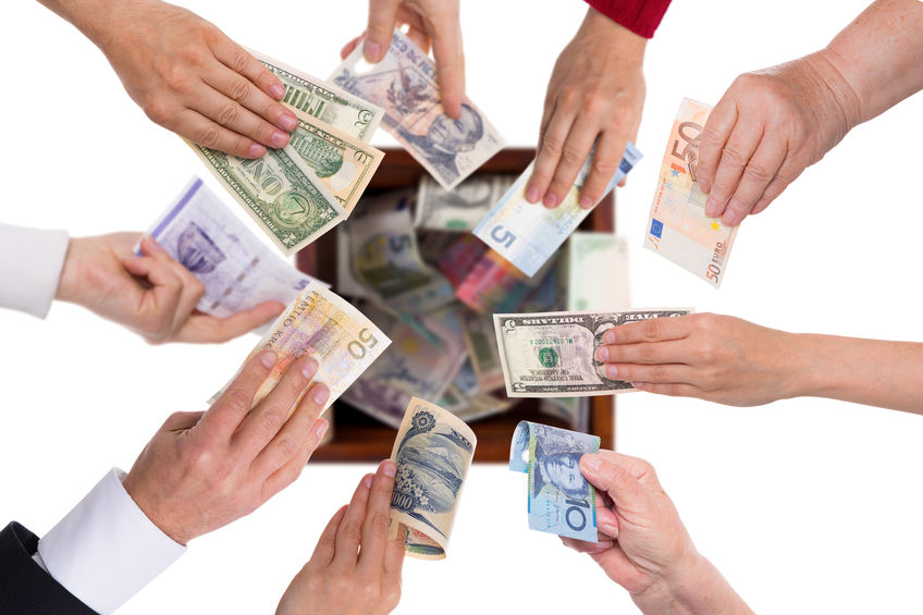 different currencies concept crowdfunding